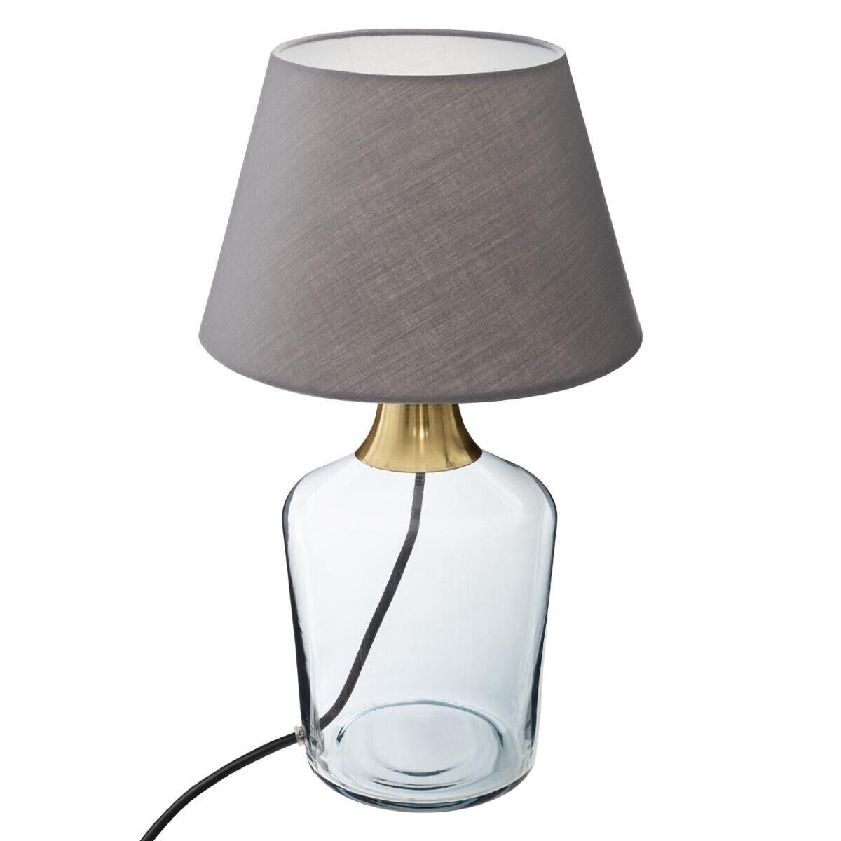 "Atmosphera Lampe ""Sila"" taupe et doré, verre H39 cm"