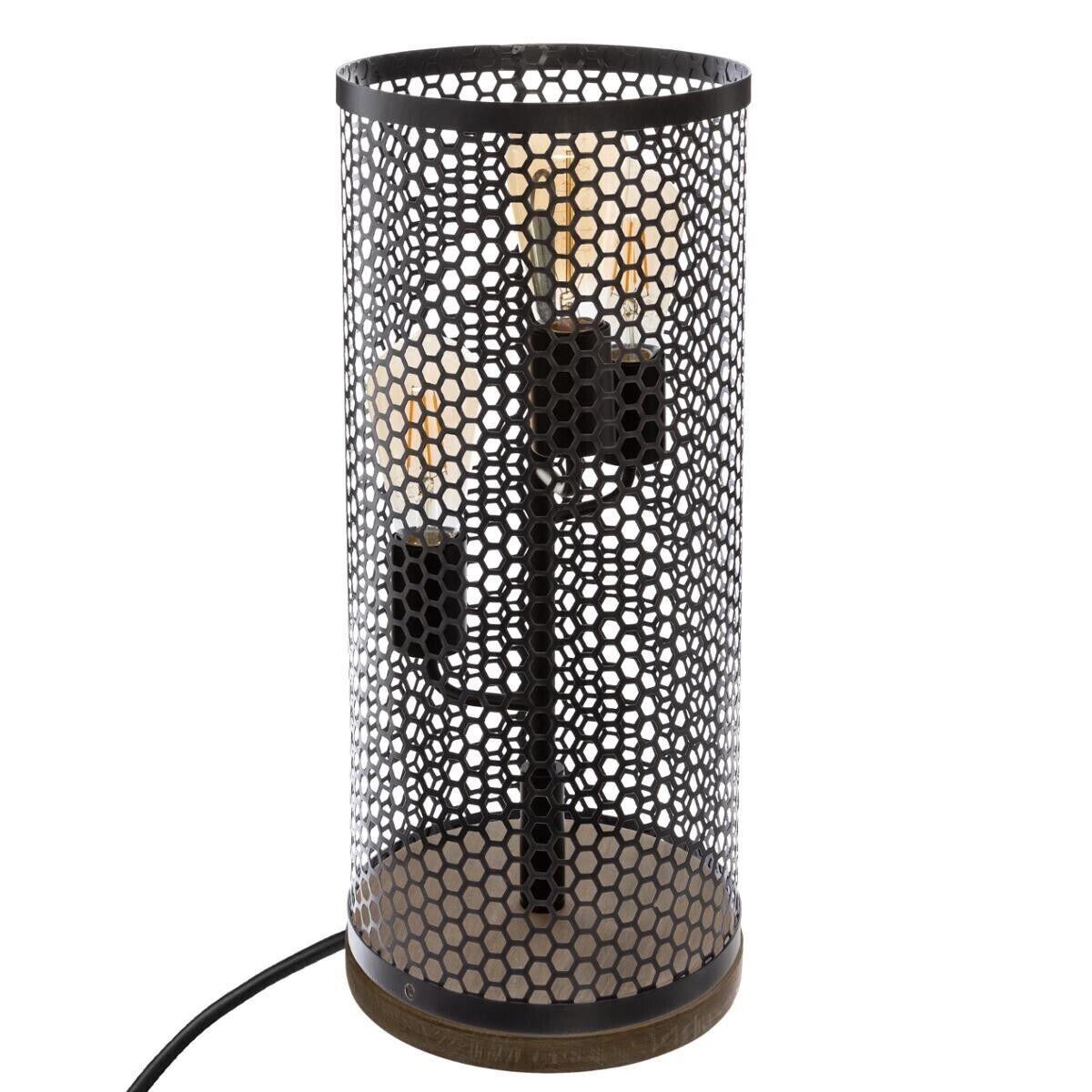 Atmosphera Lampe 'Tower' noire, métal bois H47 cm