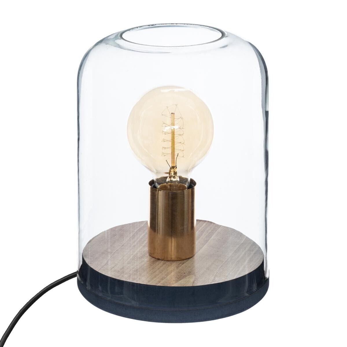 Atmosphera Lampe verre bois H23 cm