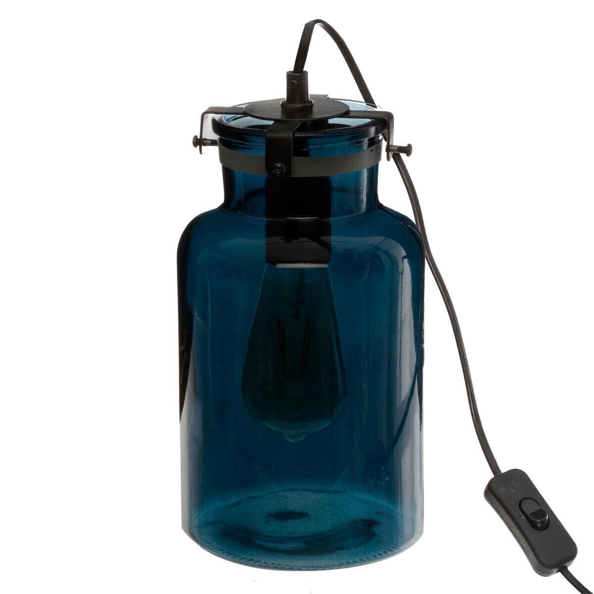 """Atmosphera Lampe """"Edo"""" bleue, verre teinté H29 cm"""