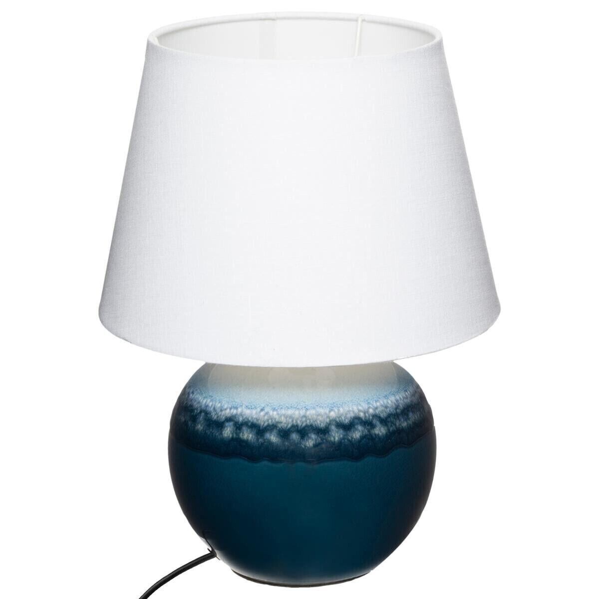 Atmosphera Lampe boule, bleu et blanc, céramique H37 cm