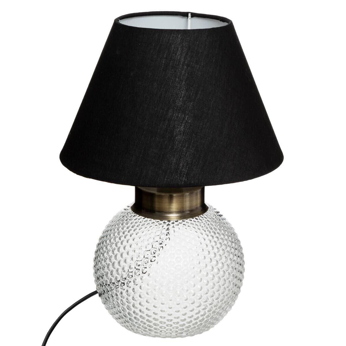 """Atmosphera Lampe boule """"Kat"""", verre et noir H29 cm"""