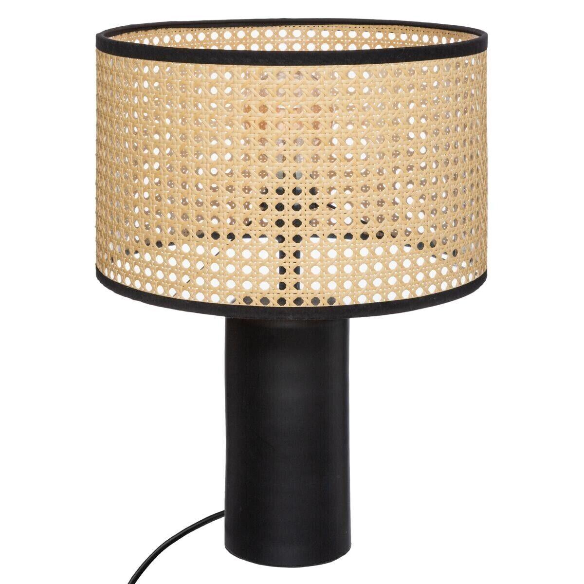 Atmosphera Lampe 'Arty' noire, cannage H47 cm