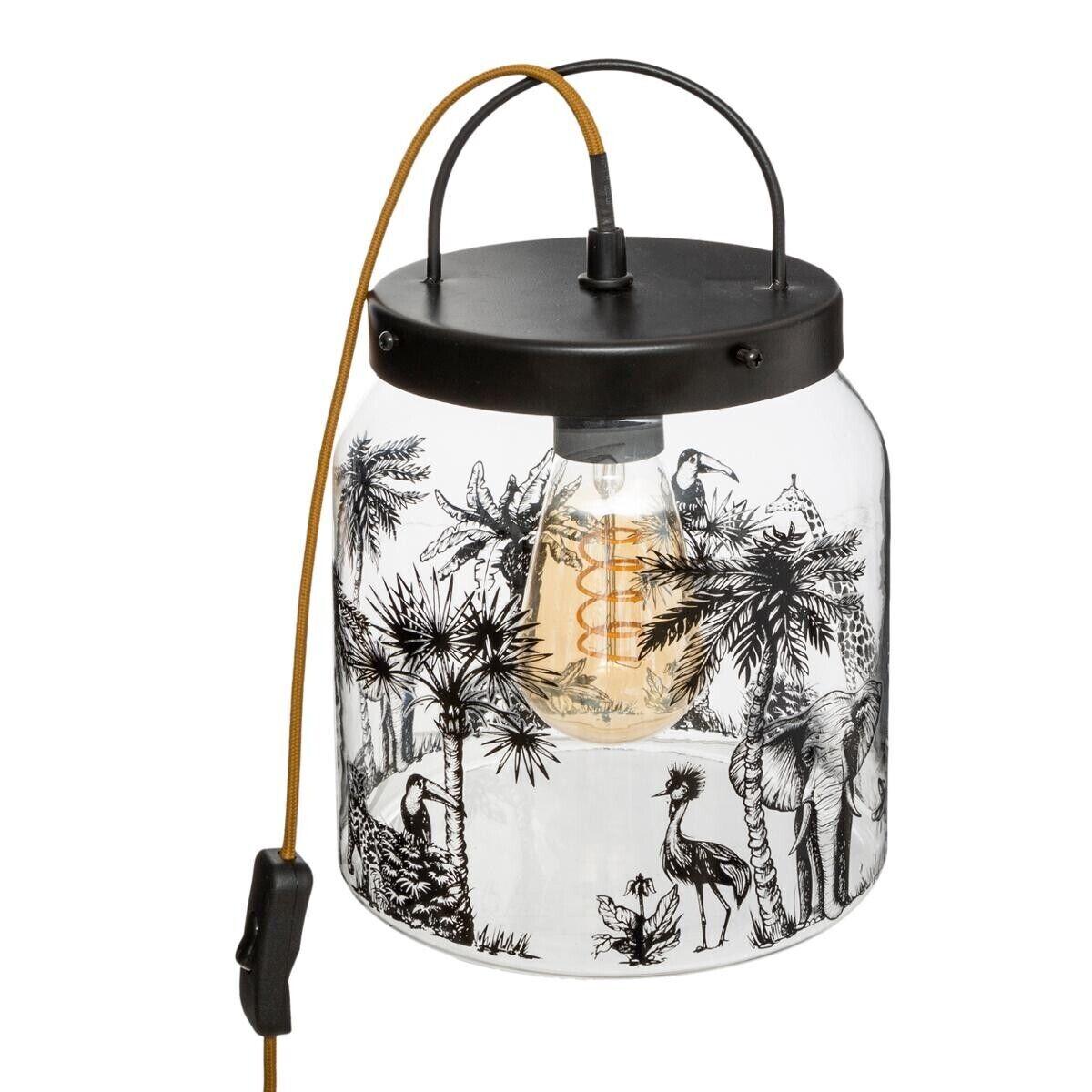 "Atmosphera Lampe ""Ryo"" noire, verre imprimé H30 cm"