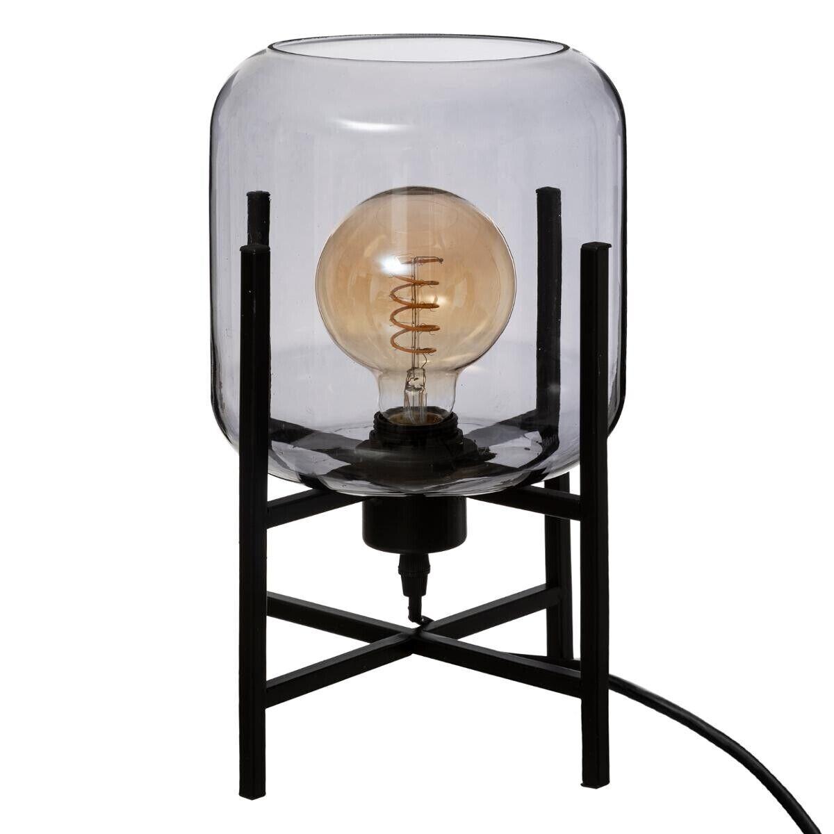 """Atmosphera Lampe """"Rob"""" noire, verre fumé H34 cm"""