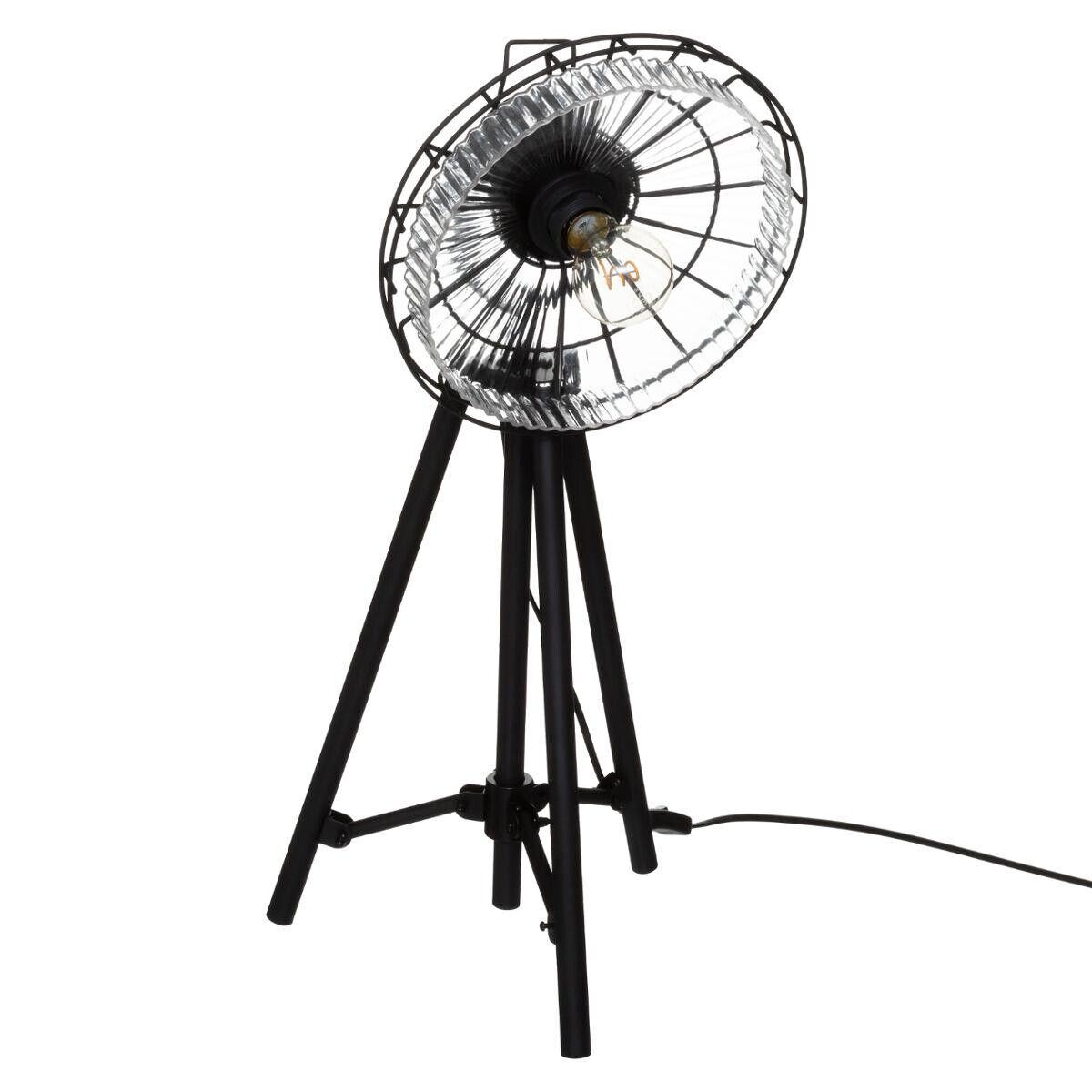 """Atmosphera Lampe trépied """"House"""" noire, métal verre H68 cm"""