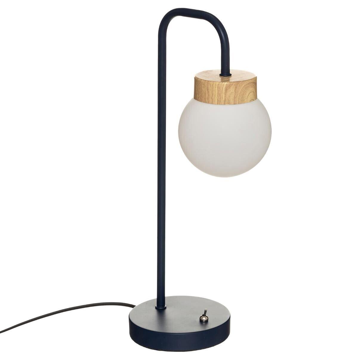 "Atmosphera Lampe ""Hôtel"" bleu navy, métal verre H46 cm"