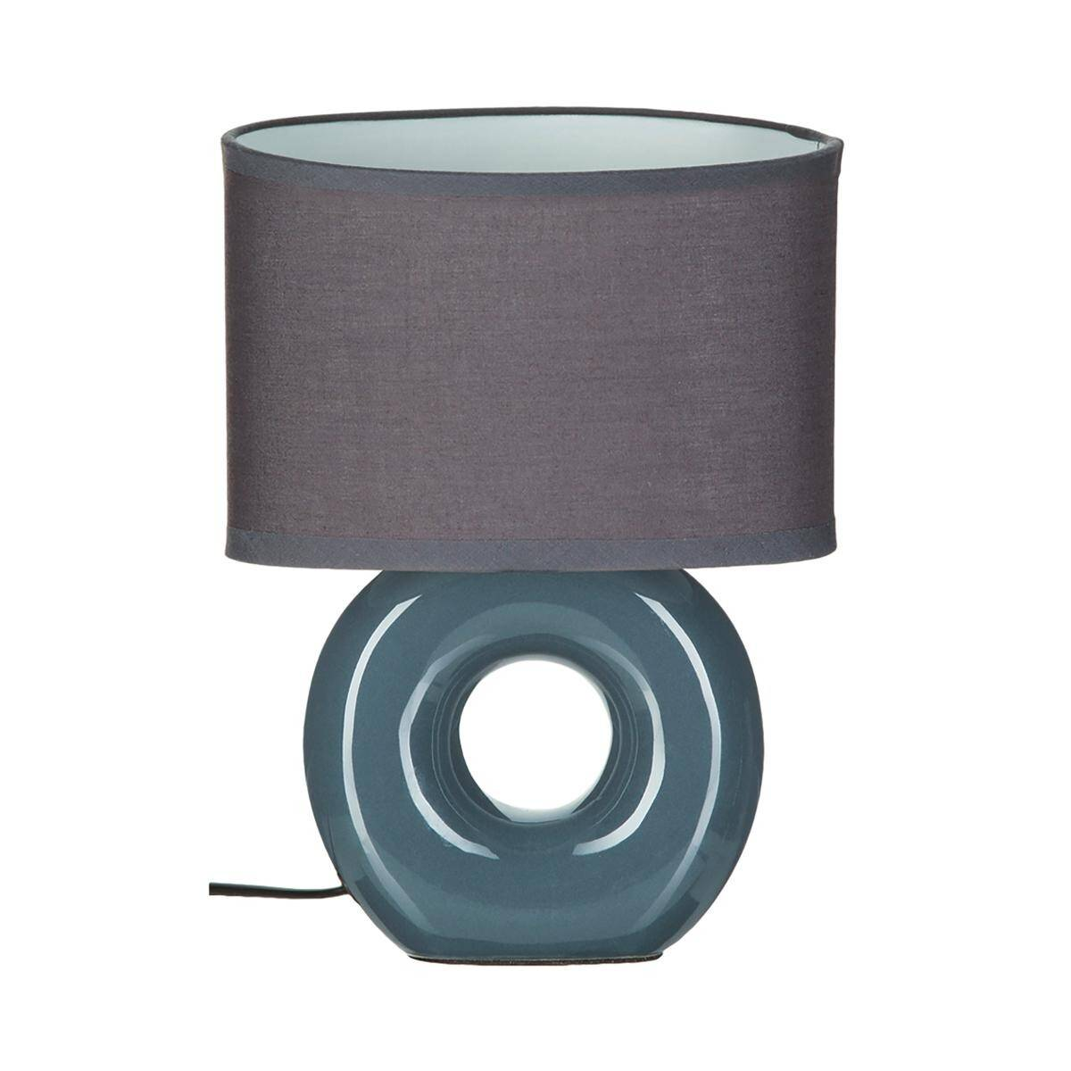 Atmosphera Lampe 'Baru', bleu orage et gris, grès H26 cm
