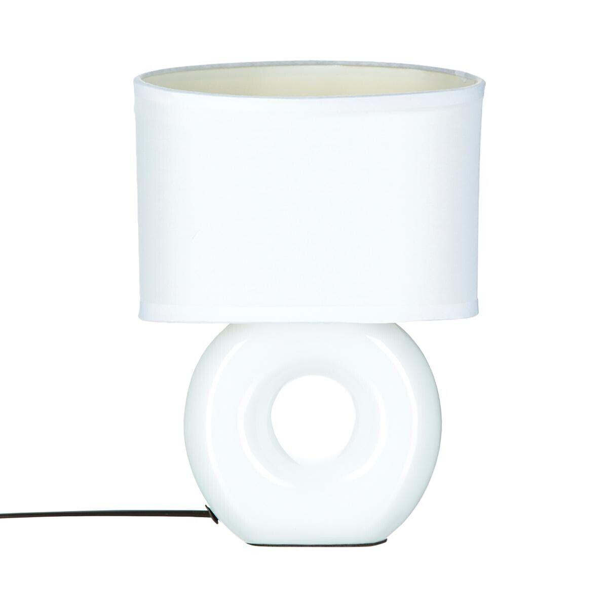 Atmosphera Lampe 'Baru' blanche, grès H26 cm