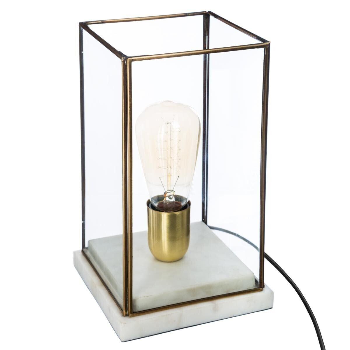 """Atmosphera Lampe """"Brone"""" dorée, marbre verre H26 cm"""