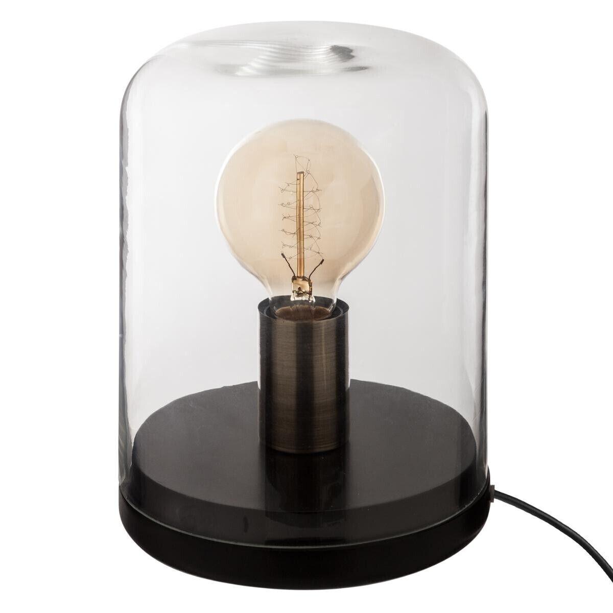 """Atmosphera Lampe """"Dôme"""" noire, verre bois H22 cm"""