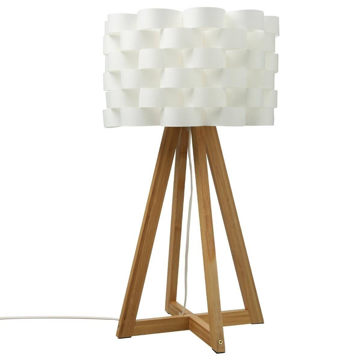 Atmosphera Lampe 'Moki', bambou et blanc H55 cm