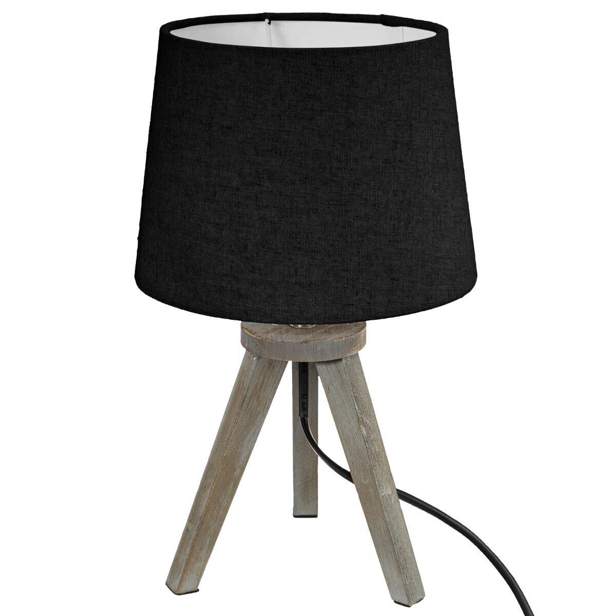 Atmosphera Lampe mini trépied, bois et noir H31 cm