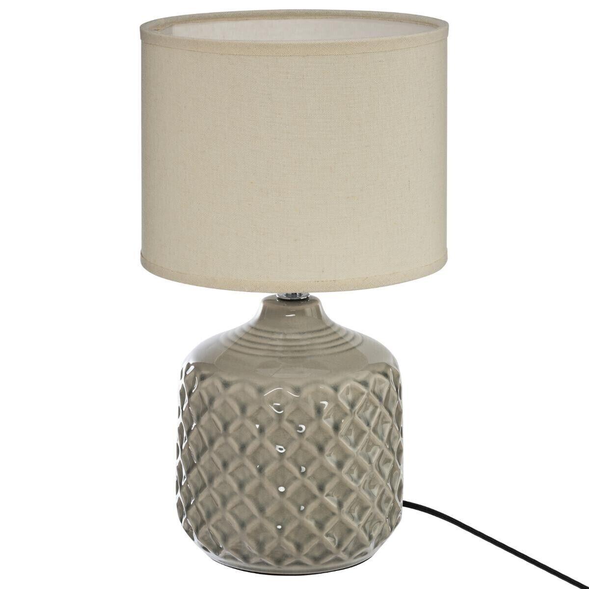 Atmosphera Lampe 'Ilou', taupe et blanc, céramique H37 cm