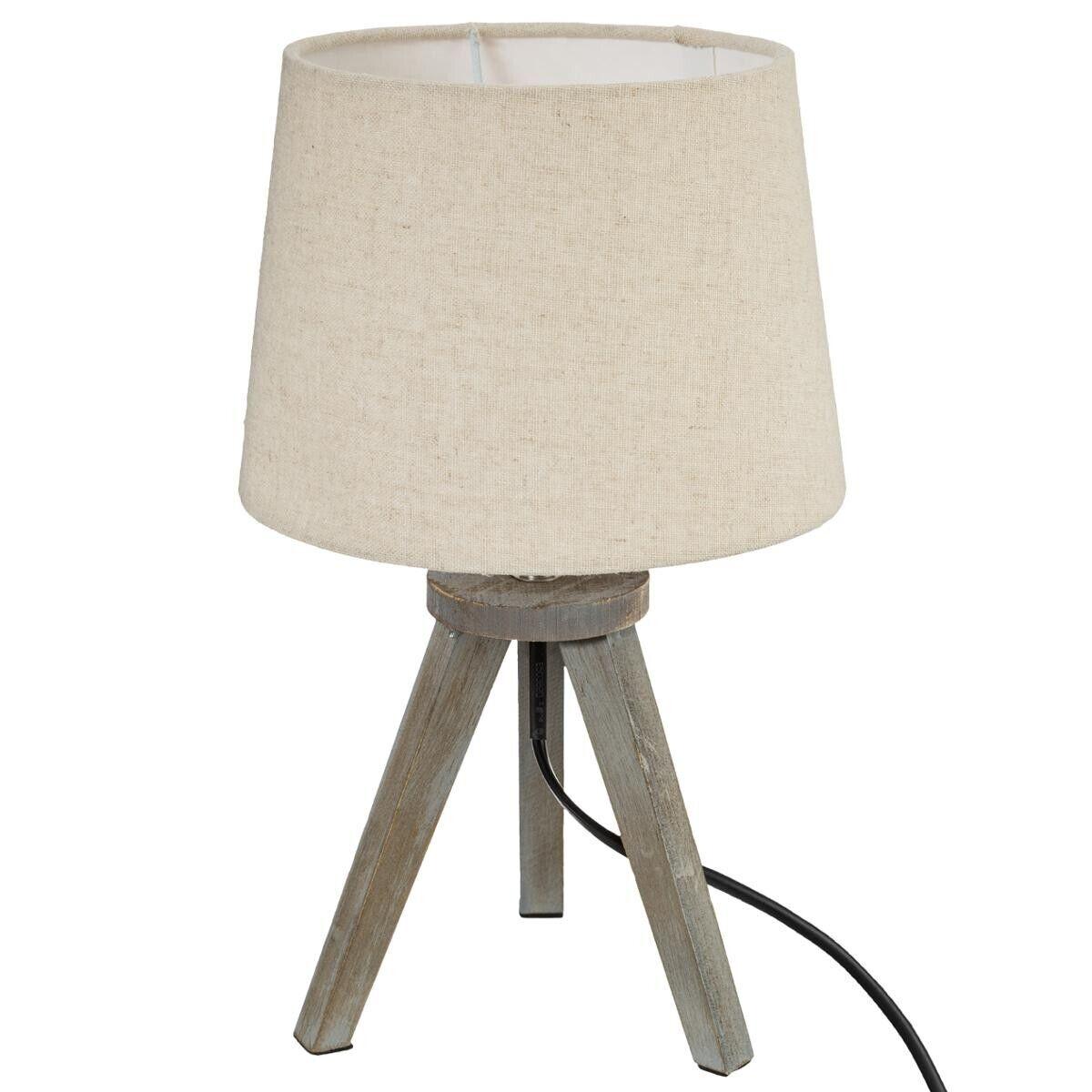 Atmosphera Lampe mini trépied, bois et ivoire H31 cm