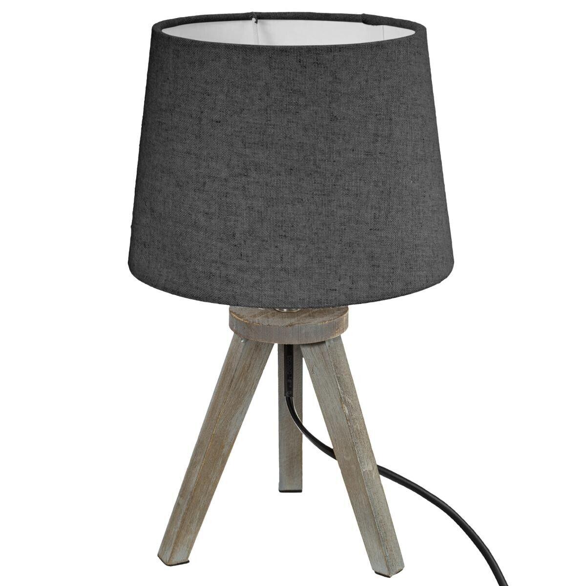 Atmosphera Lampe mini trépied, bois et gris H31 cm