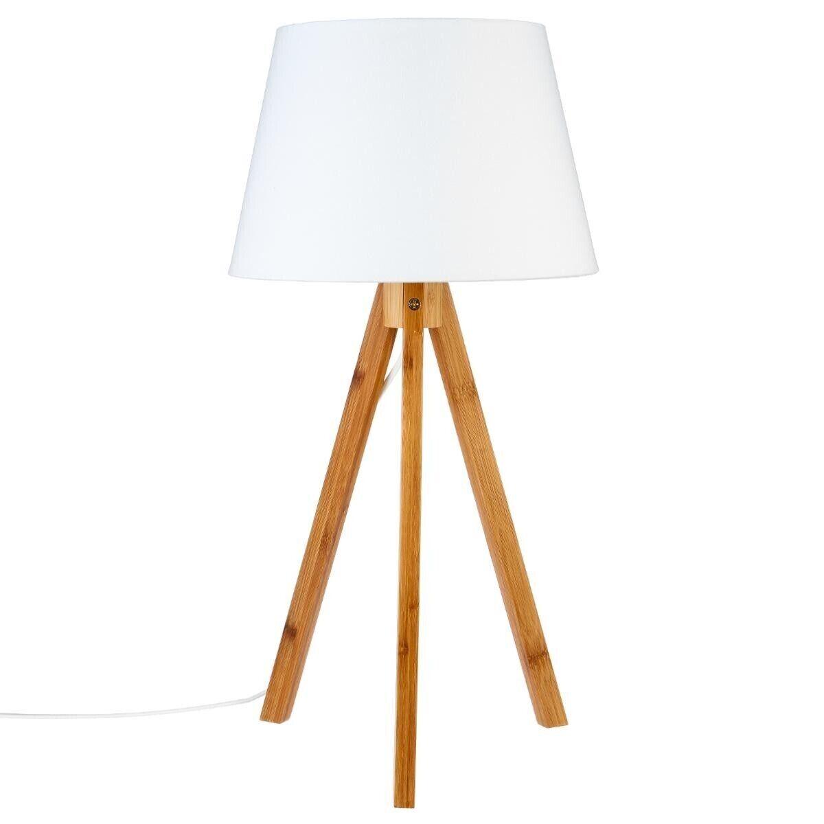 """Atmosphera Lampe """"Bahi"""" Blanche à trépied en bambou H55,5"""