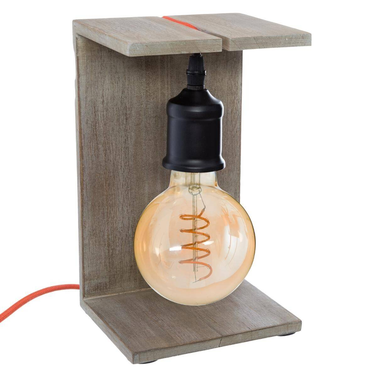 Atmosphera Lampe 'Caja', bois H25 cm