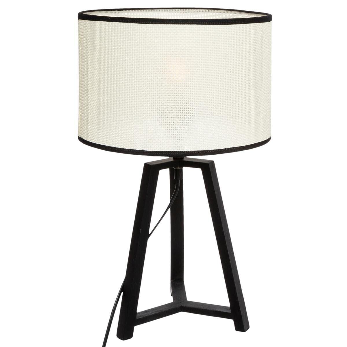 Atmosphera Lampe trépied 'Safari', noir et blanc, bois H48 cm