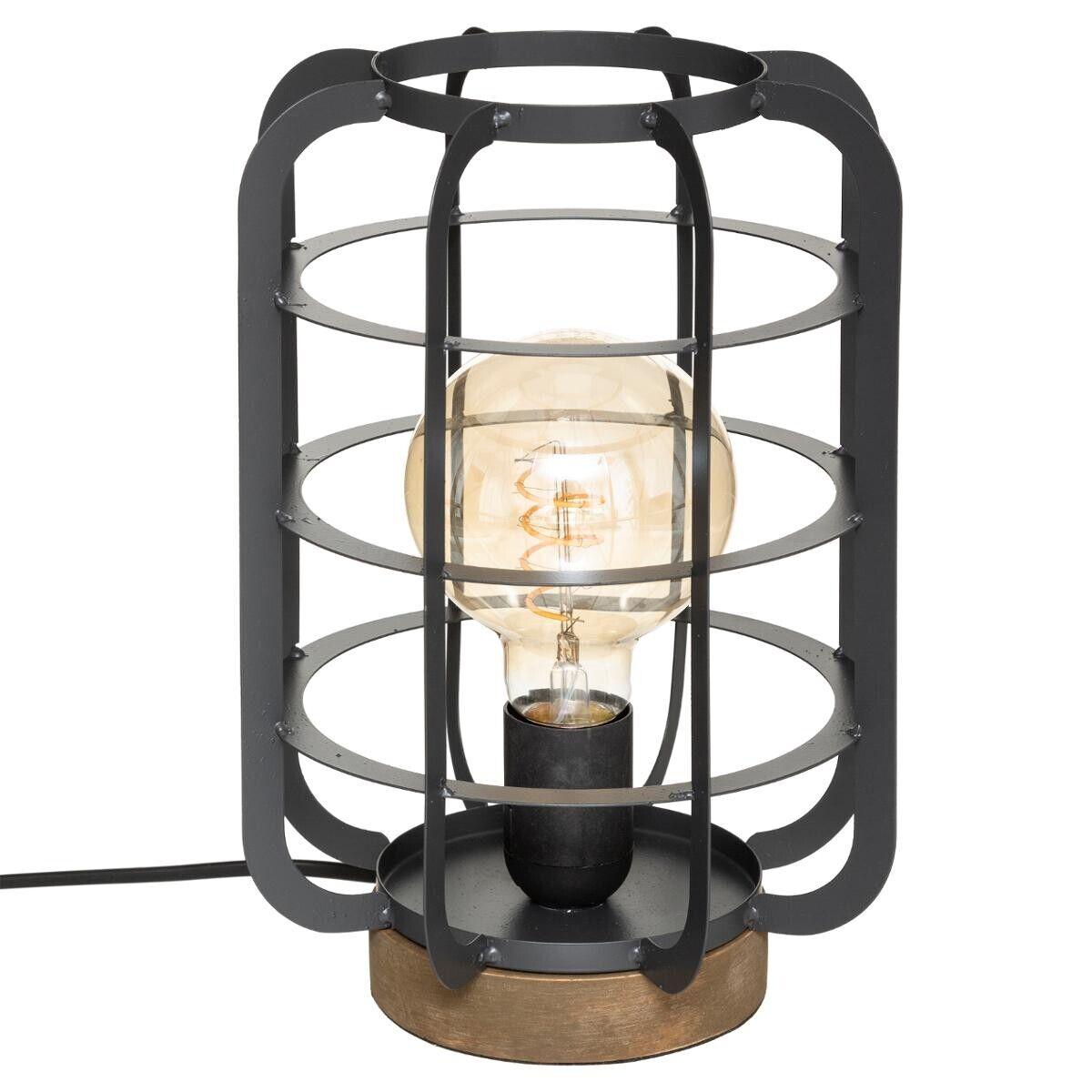 """Atmosphera Lampe """"Berry"""" gris foncé, métal bois H28 cm"""