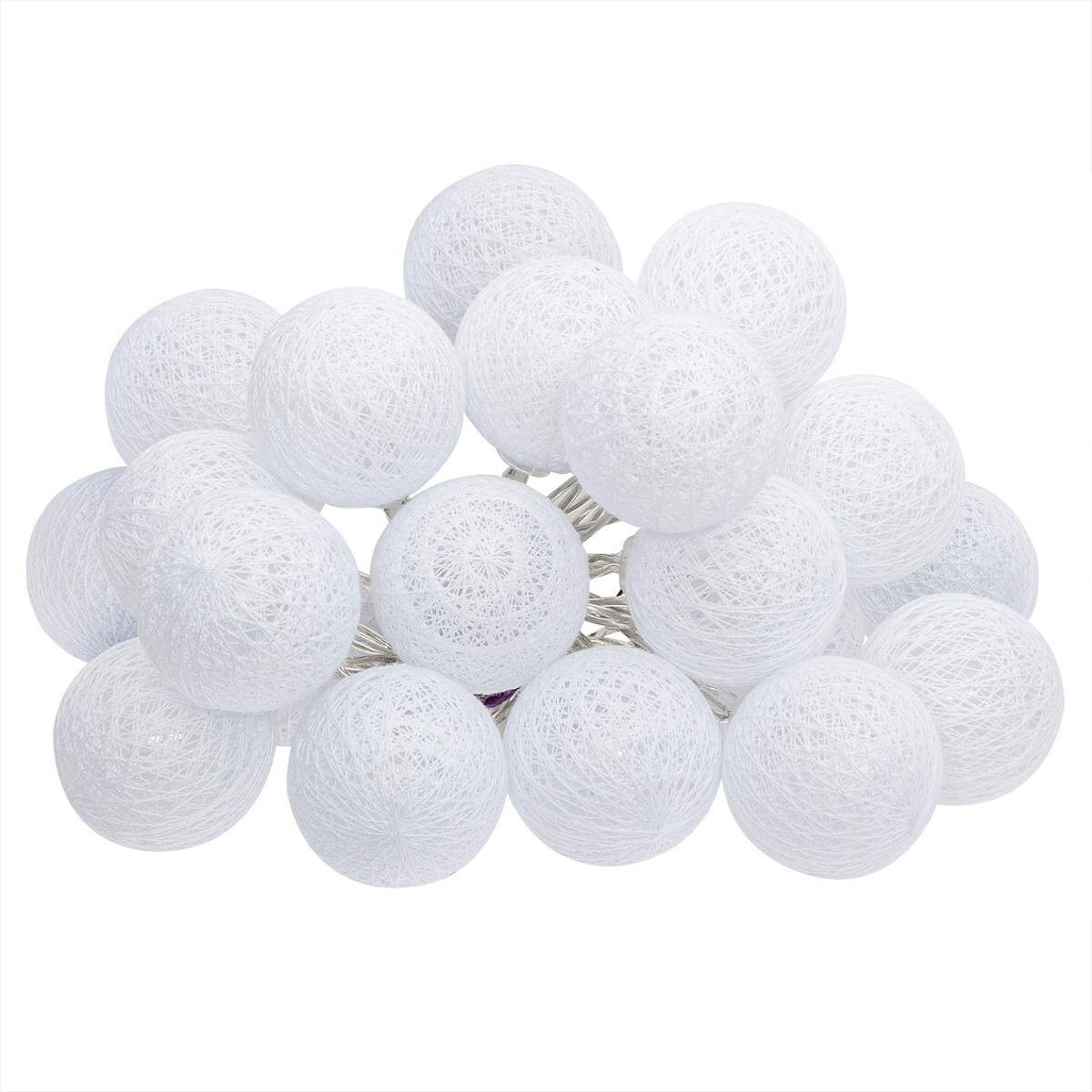 Atmosphera Guirlande LED 20 boules, blanc L435 cm