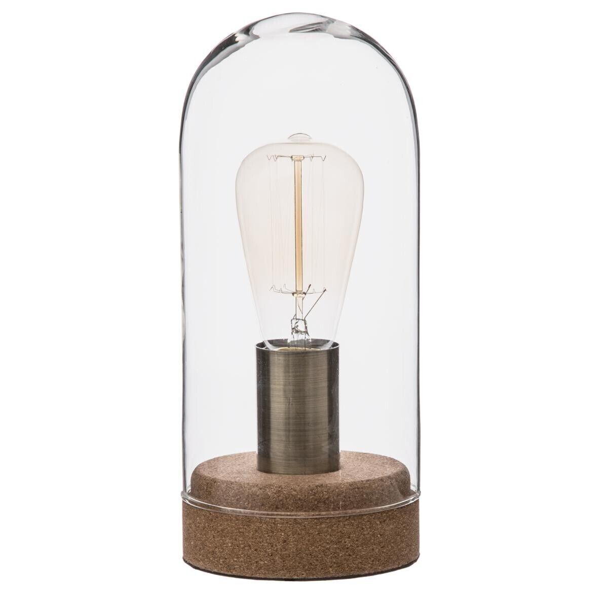 """Atmosphera Lampe """"Cork"""" en verre socle en liège H27"""