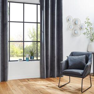 """Atmosphera Rideau occultant """"Otto"""" velours, à œillets, gris 140x260 cm DTE_2021 Unisexe - Publicité"""