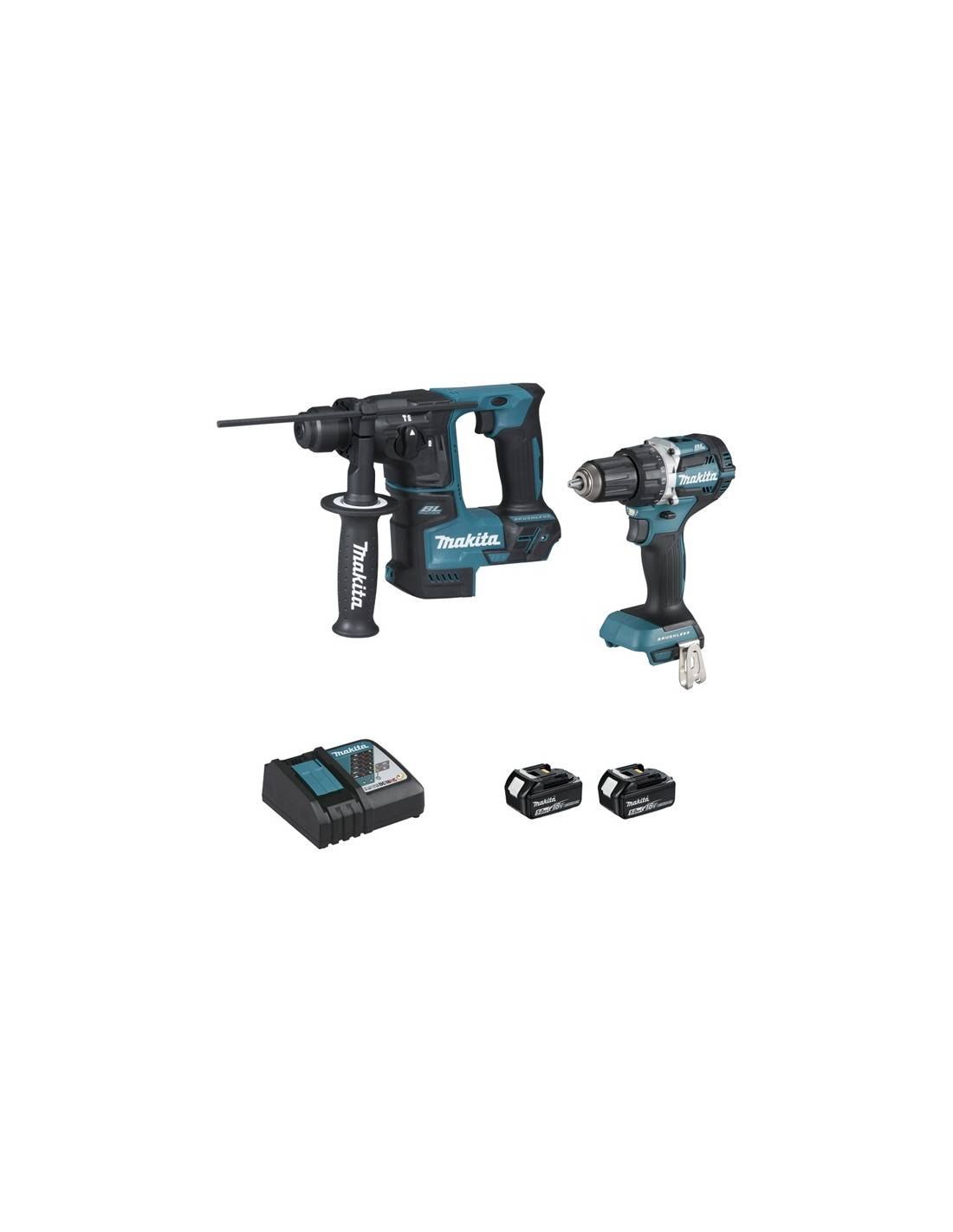 Pack MAKITA Perceuse visseuse DDF484 + Perforateur DHR171 (2X5AH) en coffret MAKPAC DLX2271TJ