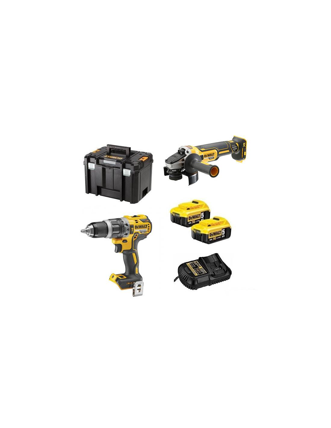 Pack DEWALT Perceuse visseuse à percussion DCD796 + meuleuse 125 mm DG405 (2x5AH) en coffret T-STAK DCK2080P2T