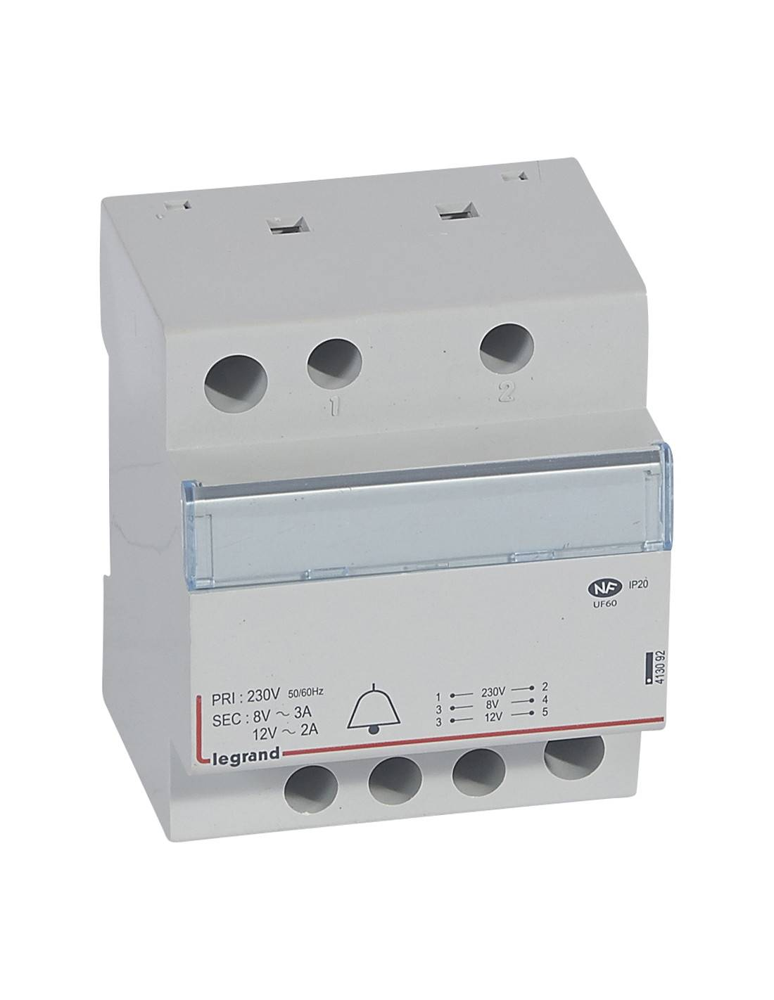 LEGRAND - Transformateur pour sonnerie - 230 V / 12-8 V - 24 VA - 4 modules - 413092