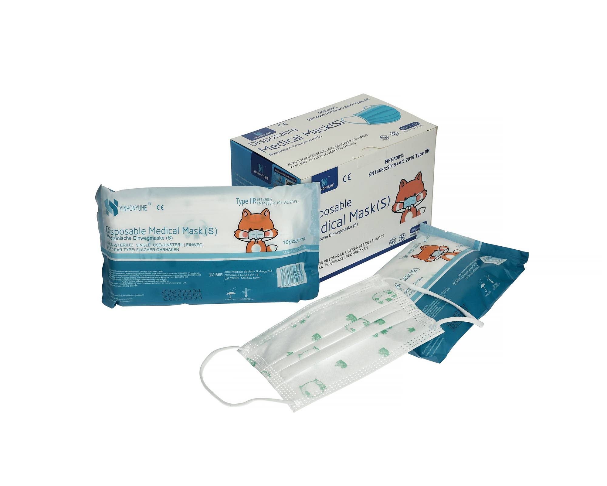 YINHONYUHE Masques enfant jetables 3 plis boîte de 50 pièces - YINHONYUHE - MASQUES9