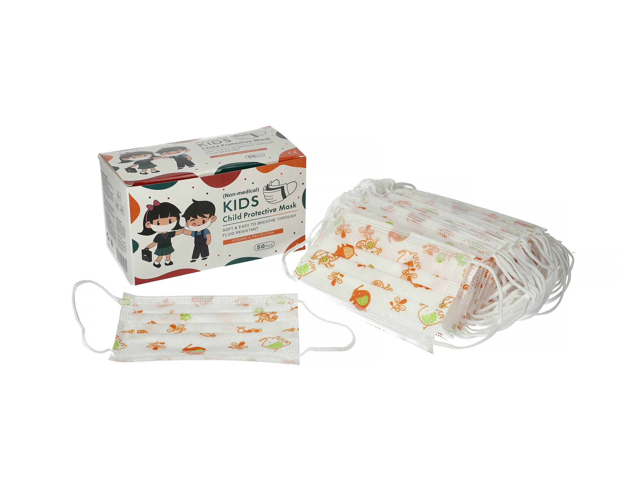 Masques enfants jetables 3 plis non médical boîte de 50 masques CE BFE supérieure à 95% - YINHONYUHE - MASQUES8