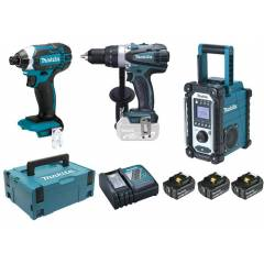 MAKITA Pack électroportatif 3 machines 18 V max (machines complètes) en coffret MAKPAC - MAKITA - LOT0099