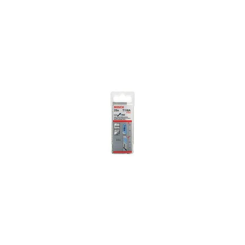 BOSCH Boîte de 25 lame de scie sauteuse 2mm HSS T 118 A Basic for Metal - BOSCH - 2608638470