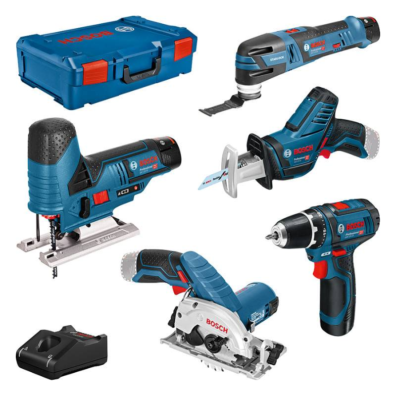 BOSCH Pack de 5 machines 12 V (GST70+GOP12+GSA14+GSR12+GKS26) avec 3 batteries 2 Ah en coffret XL-BOX - BOSCH - 0615A0017C