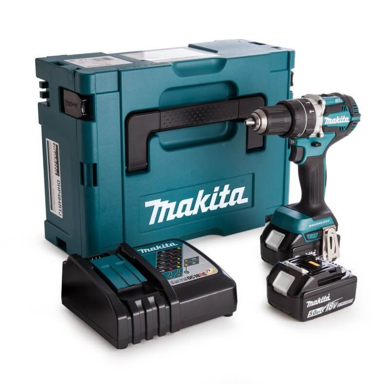 MAKITA Perceuse visseuse à percussion 18V (2x5AH) en coffret MAKPAC - MAKITA - DHP484RTJ