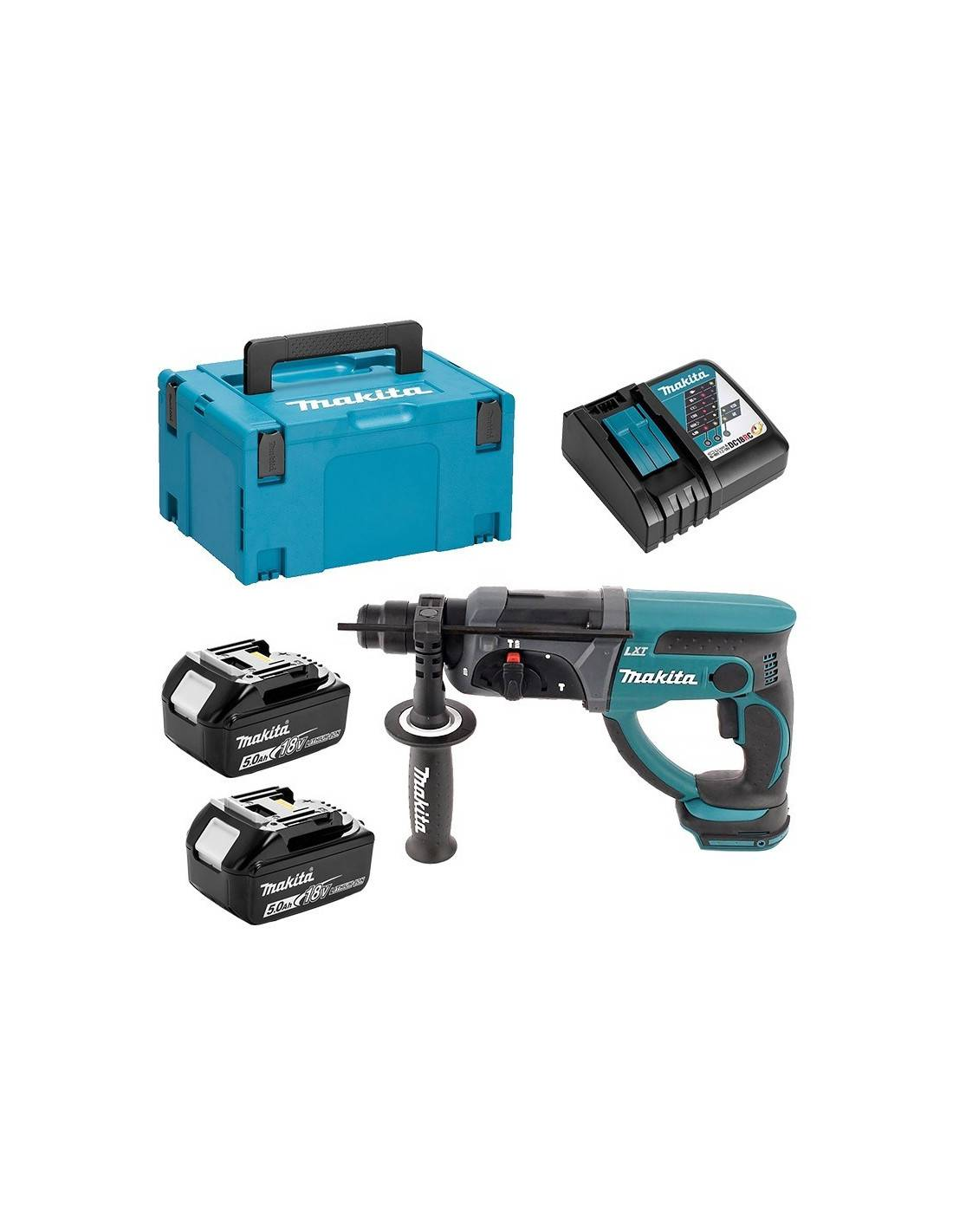 MAKITA - Perforateur Burineur sds+ 18V + 2 batteries 5Ah en coffret MAKPAC- DHR202RTJ