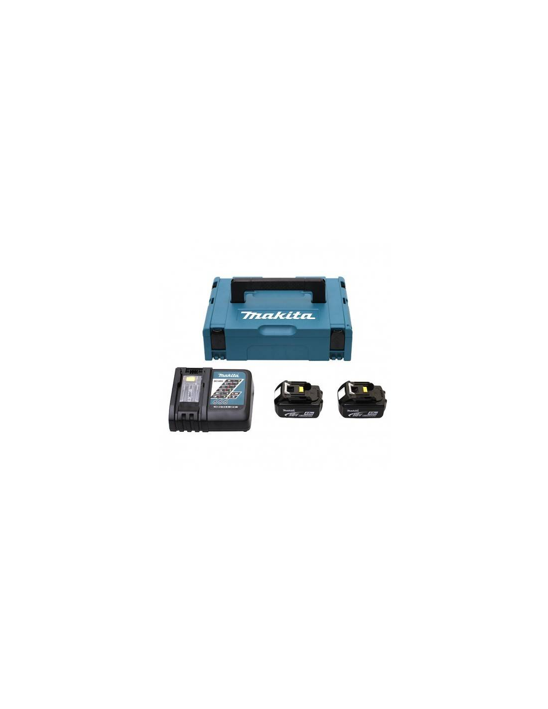MAKITA - Pack 2 batteries 18V 4Ah et son chargeur double en coffret MAKPAC - 197504-2