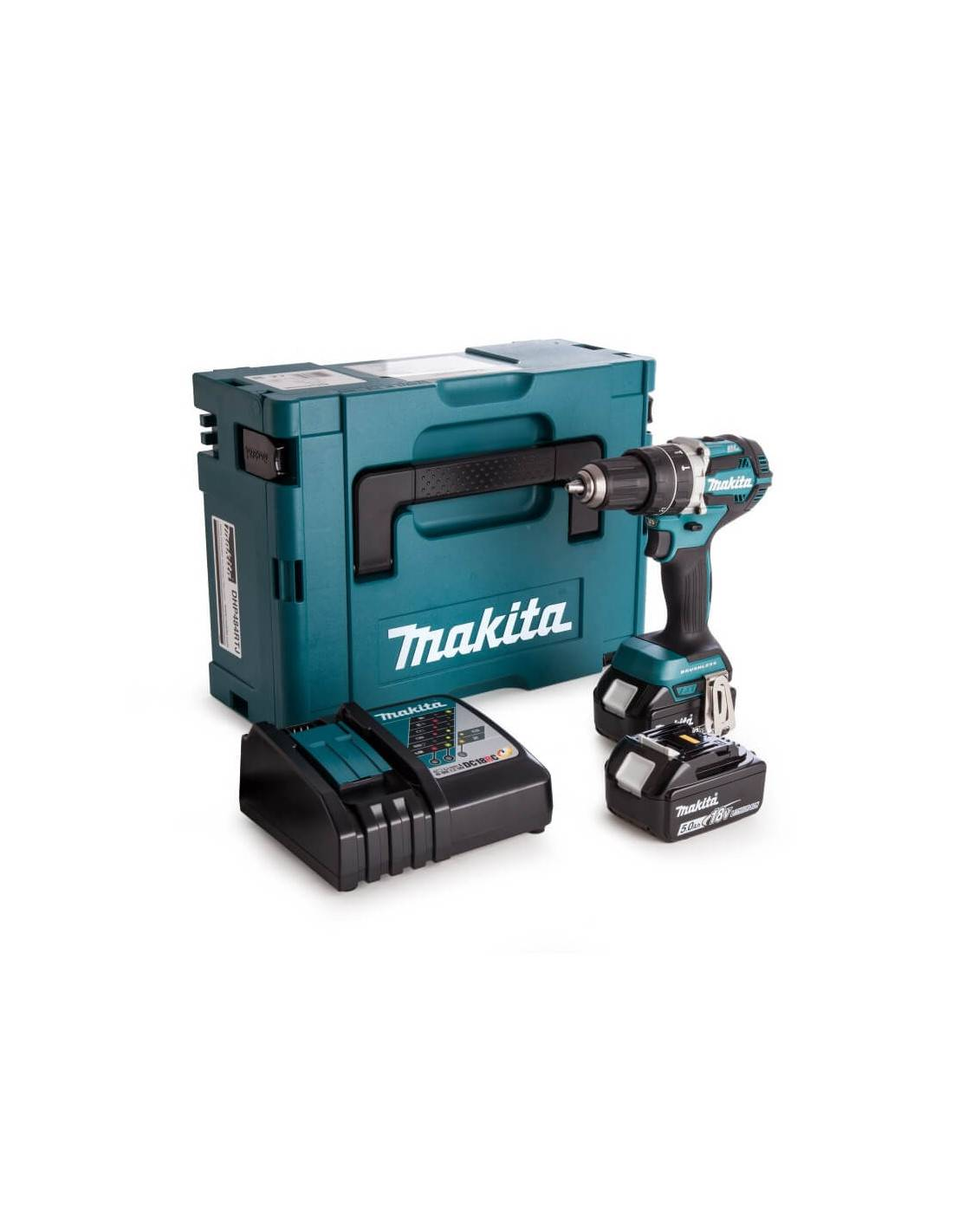 Perceuse visseuse à percussion 18V (2x5AH) en coffret MAKPAC - MAKITA - DHP484RTJ