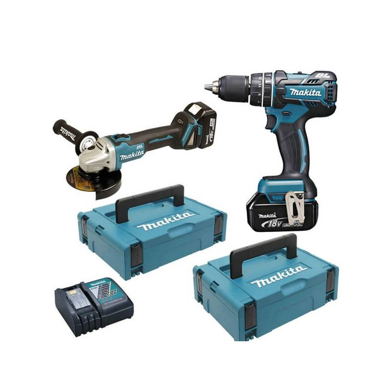 MAKITA Pack Perceuse Visseuse 18V DHP484 + Meuleuse 125 mm 18V DGA506 (2x5AH) en coffret MAKPAC - MAKITA - DLX2210TJ1