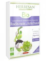 Herbesan Bio Radis Noir Artichaut Digestion Bio 20 Ampoules de 15 ml - Boîte 20 Ampoules de 15 ml