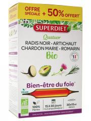 Super Diet Quatuor Chardon Marie Digestion Bio 20 Ampoules + 10 Offertes - Boîte 30 ampoules de 15 ml