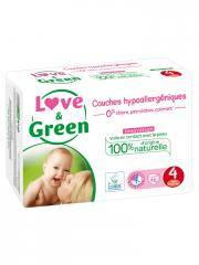 Love & Green Couches Hypoallergéniques 46 Couches Taille 4 (7-14 kg) - Sachet 46 Couches