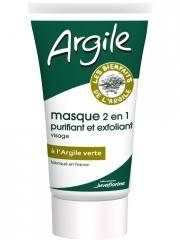 Juvamine Juvaflorine Argile Masque 2 en 1 Purifiant et Exfoliant à l'Argile Verte 70 g - Tube 70 g