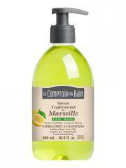 Le Comptoir du Bain Savon Traditionnel de Marseille Citron-Menthe 500 ml - Flacon-Pompe 500 ml