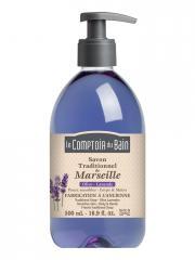 Le Comptoir du Bain Savon Traditionnel de Marseille Olive-Lavande 500 ml - Flacon-Pompe 500 ml