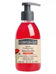 Le Comptoir du Bain Savon Traditionnel de Marseille Coquelicot 300 ml - Flacon-Pompe 300 ml