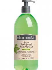 Le Comptoir du Bain Savon Traditionnel de Marseille Verveine 1 L - Flacon-Pompe 1 Litre