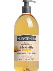 Le Comptoir du Bain Savon Traditionnel de Marseille Vanille-Miel 1 L - Flacon-Pompe 1000 ml