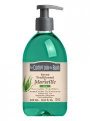 Le Comptoir du Bain Savon Traditionnel de Marseille Aloe 500 ml - Flacon-Pompe 500 ml